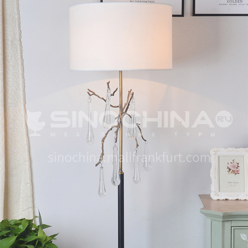 American crystal floor lamp living room bedroom study table lamp post modern minimalist pendant bead curtain XYJJ-0753